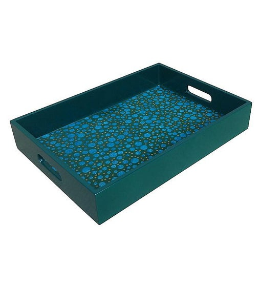 Handmade Reverse Painted Mirror Tray with Handles in Blue and Green Dots - Medium