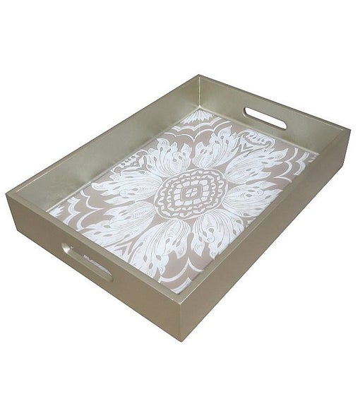 Handmade Reverse Painted Mirror Tray with Handles in Beige and Silver - Medium