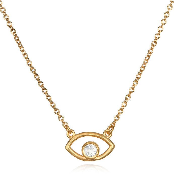 Protection White Topaz Gold Eye Necklace