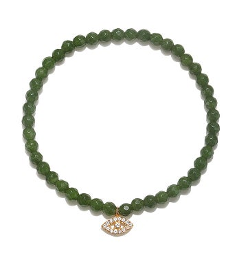 Jade & White Topaz Gold Eye Stretch Bracelet