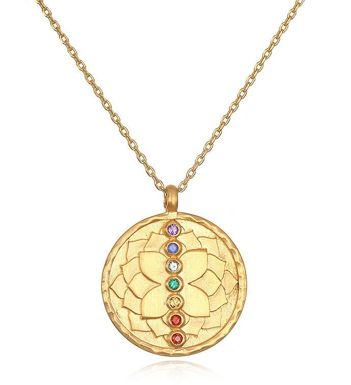 Multi Stone Chakra Lotus Necklace 18-inch