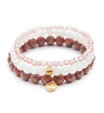 Rhodonite, White Turquoise, Cherry Quartz Gold Heart Lotus Stretch Bracelet Set