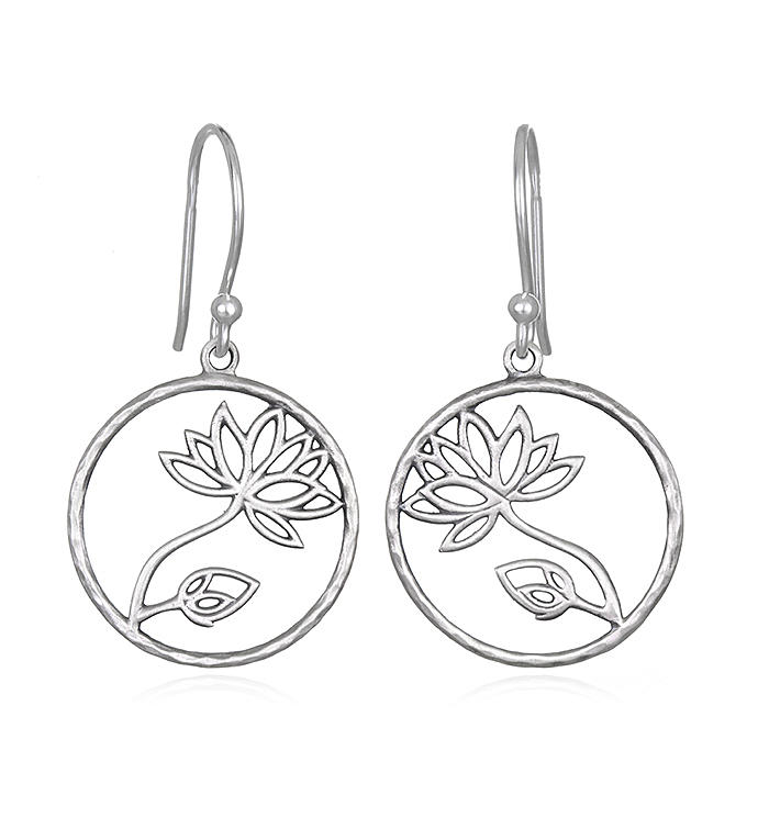 Sterling Silver Lotus Cutout Earrings