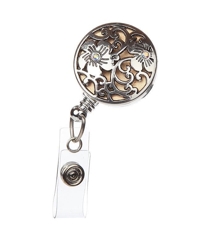 Clematis Floral Embellished Id Badge Reel