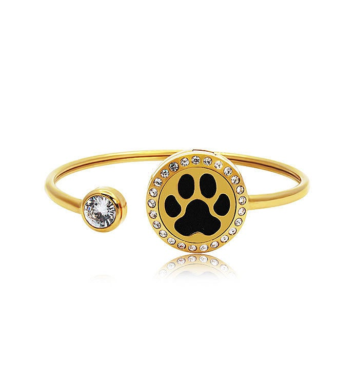 Dog Paw Essential Oil Twistable Cuff Bangle