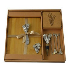 Wine & Cheese Set, Silver Grapes