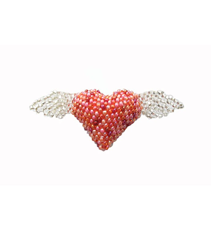 Beaded Heart w/Wings Pin - Pink