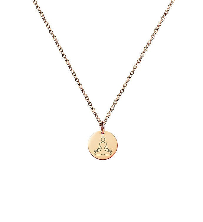 Mini Round Mantra Engraved Pendant Necklace