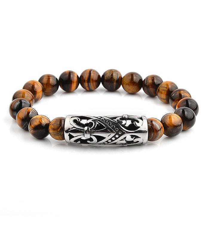 Fleur De Lis Tiger39s Eye Stone Stretch Bracelet