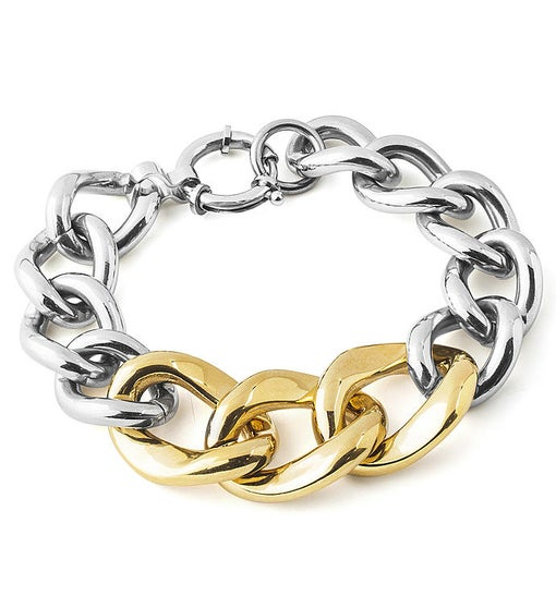 Polished Curb Chain Two-tone Stainless Steel Link Bracelet