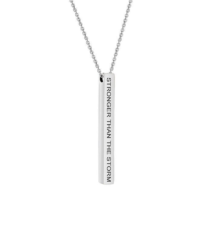 """Stronger Than The Storm"" Bar Stainless Steel Necklace"