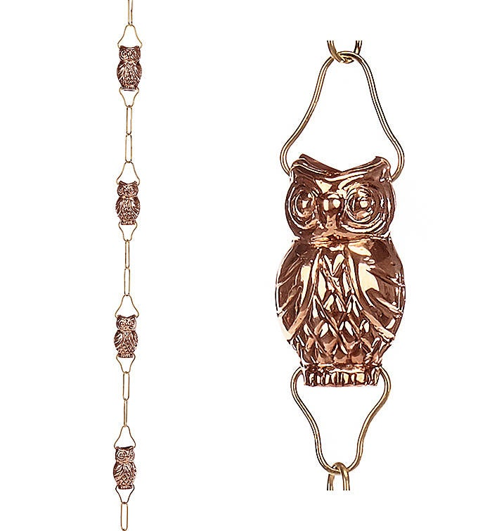 9 Cup Owl Pure Copper 85 Ft Rain Chain By Good Directions