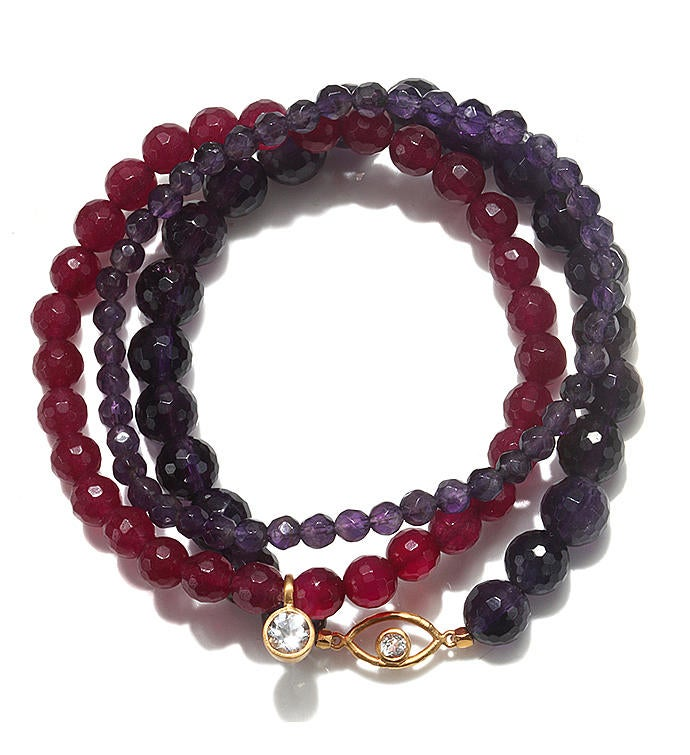 Multi Gemstone Gold Eye Stretch Bracelet Set