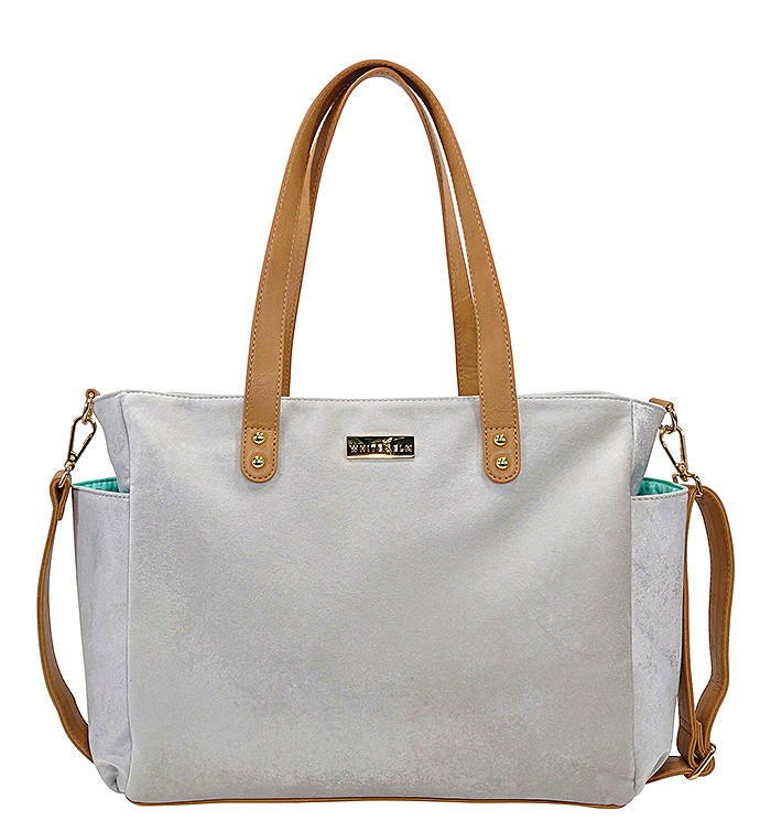 White Elm Aquila Tote Bag In Gray Microsuede