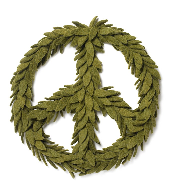Handmade Hand Felted Wool Wreath - Peace Symbol In Green