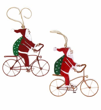 Kenyan Recycled Wire Bike Riding Santa Ornament