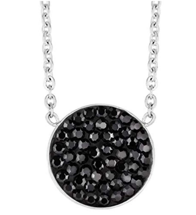 Crystal Encrusted Circle Pendant Necklace