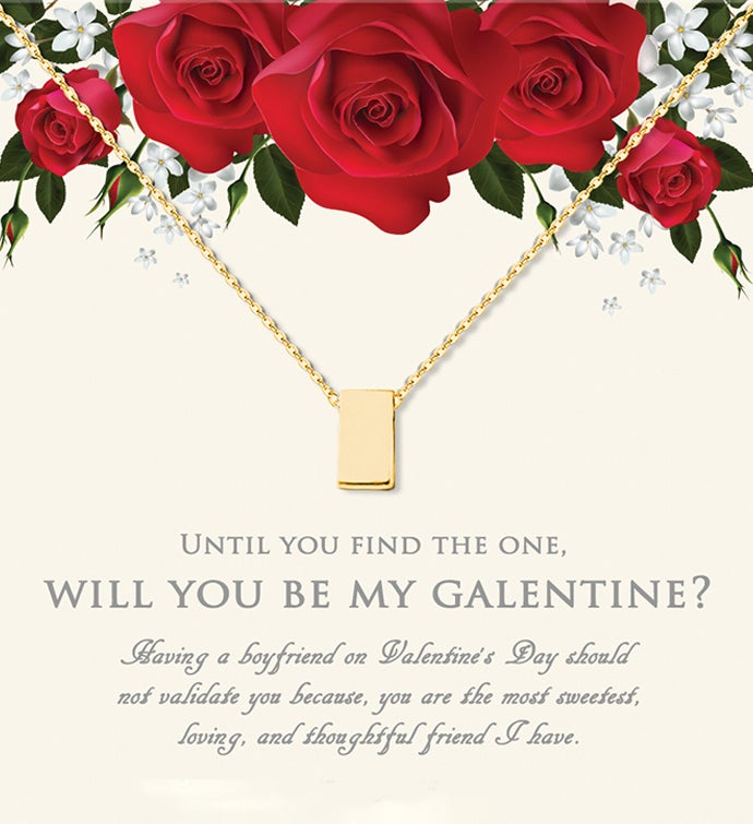 Will You Be My Galentine? Cube Valentine's Day Necklace