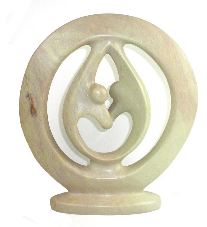 Handmade Natural Soapstone 10-inch Lover39s Embrace Sculpture