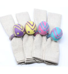 Handmade Felt Easter Egg Napkin Rings, Set Of Four