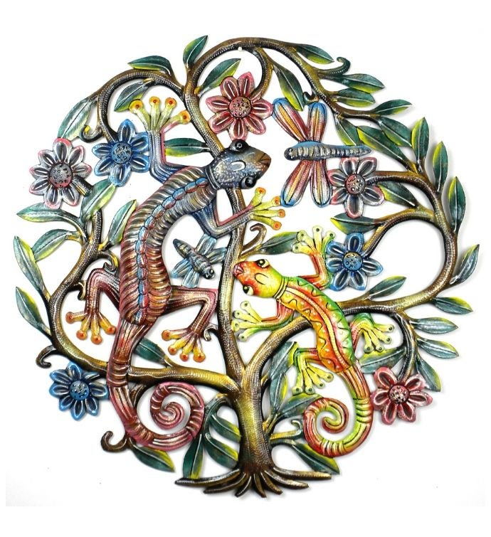 Recycled Metal Tree Of Life With Geckos Wall Art, 24""