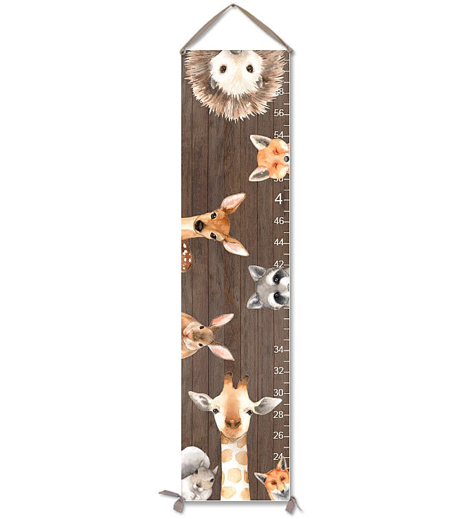 Canvas Growth Chart with Woodland Animals