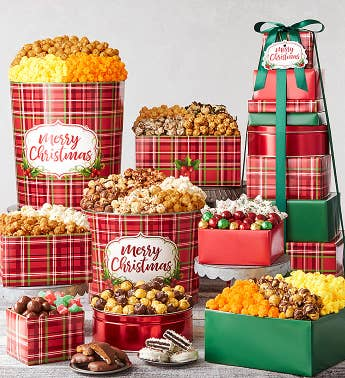 8-Tier Holly Plaid Tower  Tins