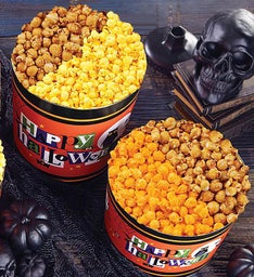 Happy Halloween Pick a Flavor 3 12 Gallon Popcorn Tins