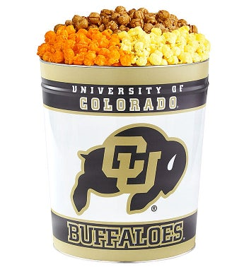 3 Gallon University of Colorado 3-Flavor Popcorn Tins