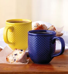 Blue and Yellow Diamond-Textured Mug Duo
